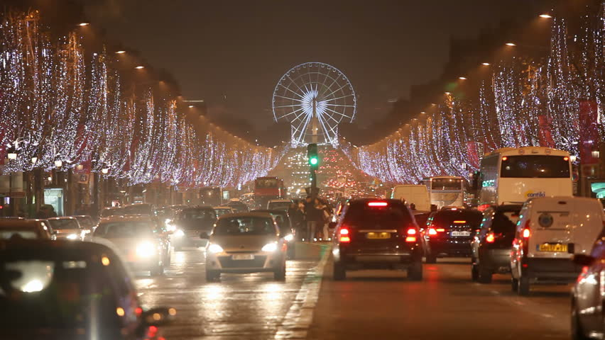Champs Elysees by night for Christmas - Paris France - HD stock video clip
