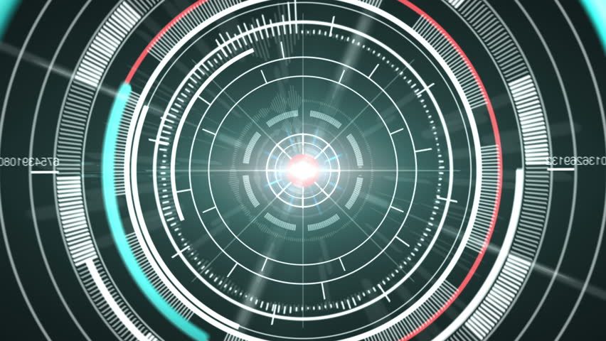 Abstract hi-tech circle element background. Loop. Matte channel included. - HD stock footage clip