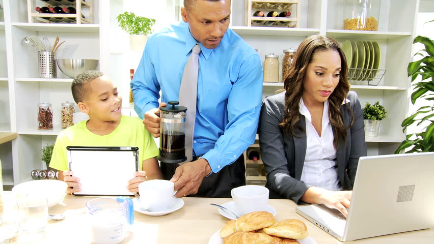 Modern working african american family breakfast modern for American family homes inc