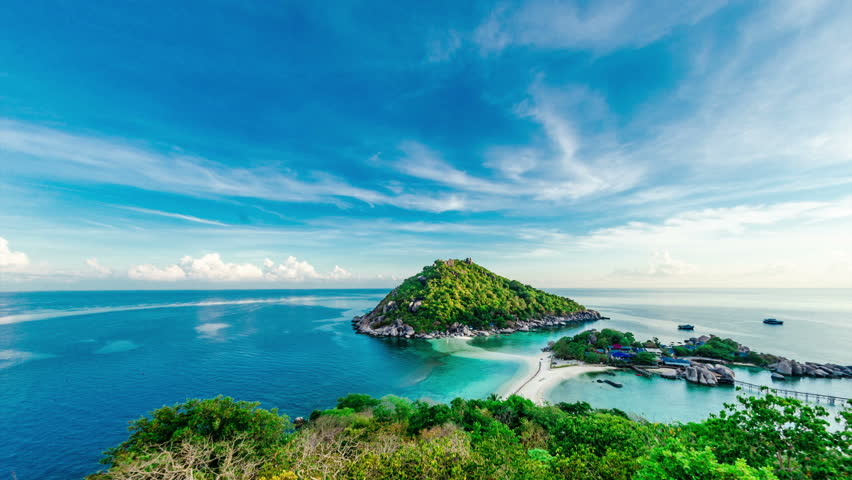 4k timelapse of tropical island with blue sky nangyuan island dive resort stock footage video - Nangyuan island dive resort ...
