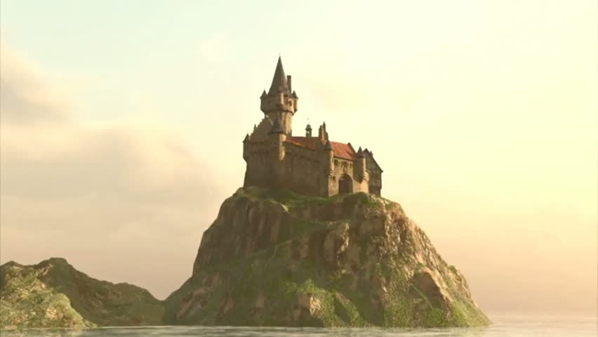 Fly Around Fantasy Castle in Sunset