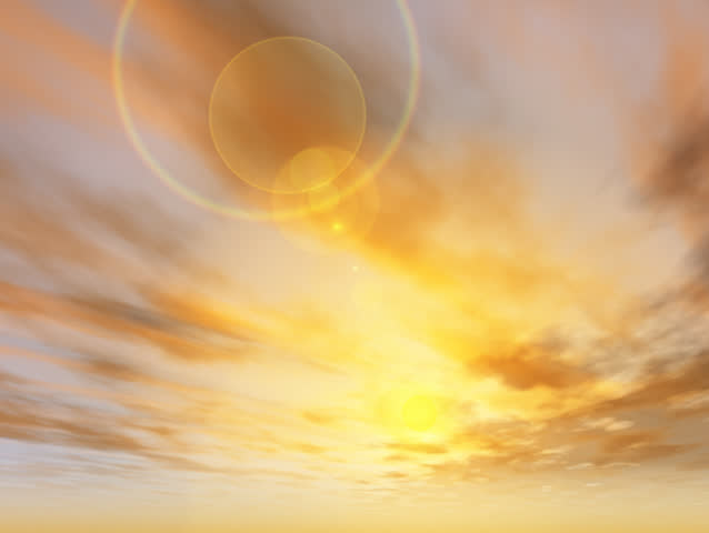 Camera moves through the clouds towards the sun. Beautiful lens flair. Sunrise / Sunset . Original Animation