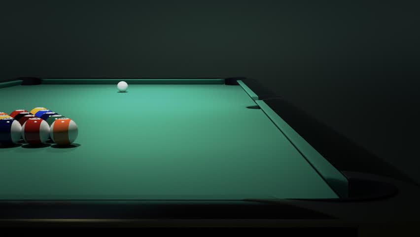 Billiard Balls On The Green Baize Of A Billiard Table