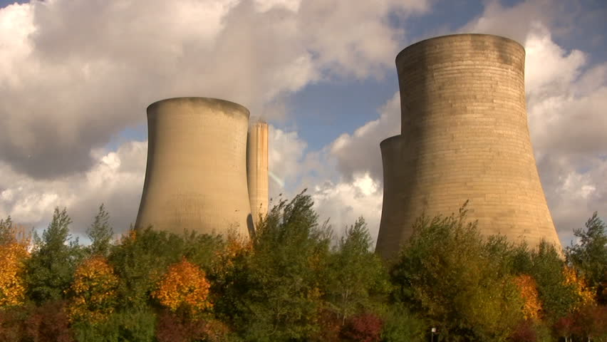 Cooling tower - Tracking a power plant near London - HD stock video clip