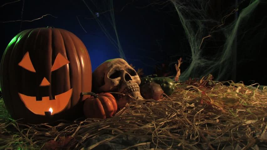 Halloween skull & Pumpkin with fog (HD) - HD stock footage clip