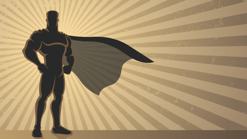 Superhero Background Loop: Animation of superhero over grunge background with copy space.