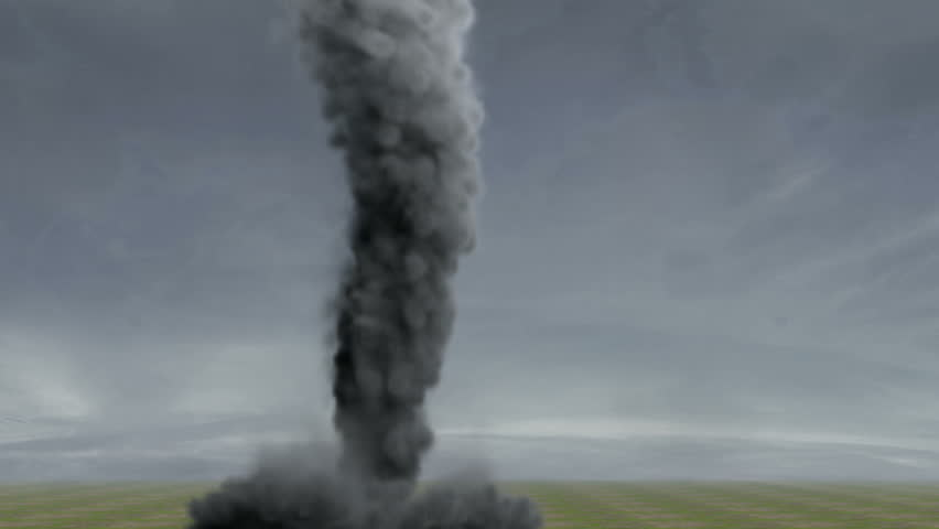 Tornado: A large violent Tornado violently spinning in an open field.  High-quality 3d Animation.