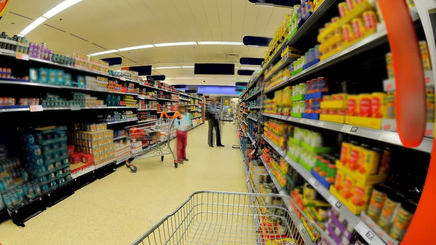 Supermarket Shopping Isle Time Lapse - HD stock footage clip