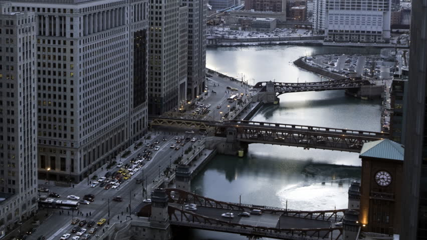 Time lapse of Chicago River and rush hour traffic at sunset - HD stock video clip