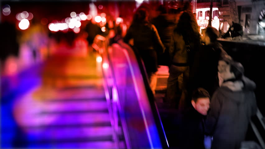 people going up and down a subway entrance in barcelona spain - HD stock footage clip