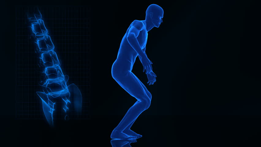 Spine pain concept with rotating camera and spine closeup  - similar footage in my portfolio