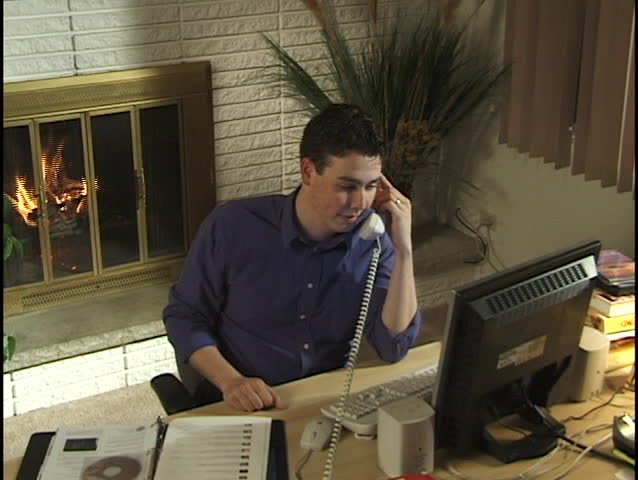 Businessman in Home Office 4 - SD stock footage clip