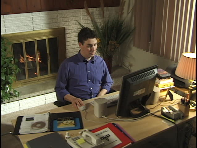 Businessman in Home Office 6 - SD stock footage clip