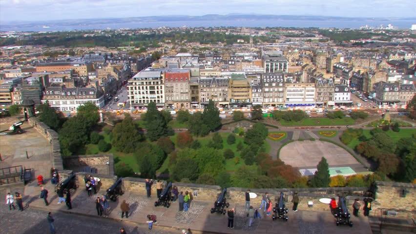 Overlook Edinburgh new town from Edinburgh castle. - HD stock footage clip
