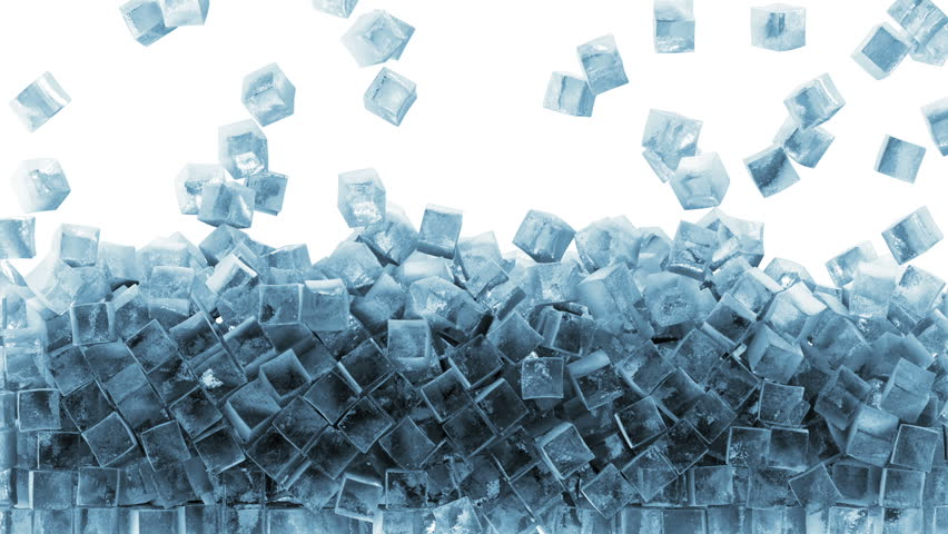 Animation of Falling Ice Cubes on white background. HQ Video Clip