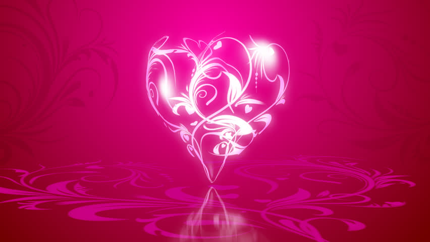 3d flowers in heart formation, on a pink background with animated elements of the pattern. - HD stock video clip