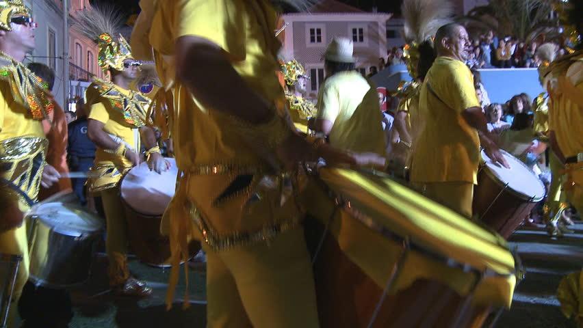 SESIMBRA, PORTUGAL - FEBRUARY 14: Brazilian Carnival event February 14, 2010 in Sesimbra, Portugal  - HD stock footage clip