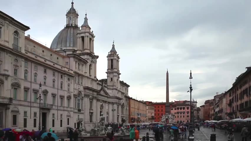 ROME, ITALY - JUNE 18, 2014: Video of Navona Square with the church Sant Agnese In Agone on the left side. Sant Agnese in Agone  is a 17th-century Baroque church.