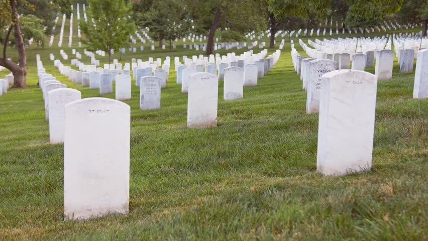 Arlington National Cemetery - Medium Shot of Graves - 4K stock footage clip