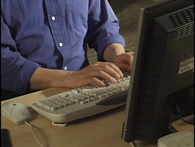 Hands Typing Crane Shot - SD stock footage clip