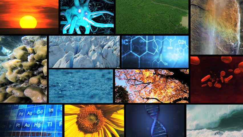 3D video wall montage nature environmental science life research human lifestyle water earth - HD stock video clip