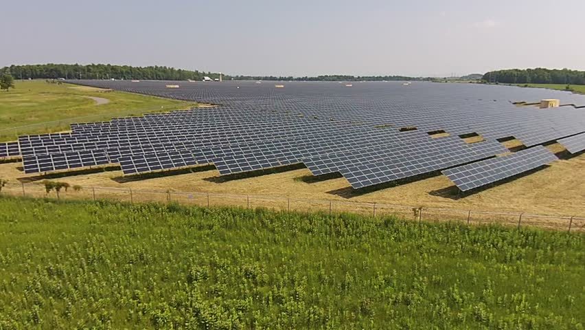 ONTARIO, CANADA : The Provincial Government of Ontario Has Introduced A Clean Energy Policy Which Has Made Investments In Renewable Energy Like These Solar Panel Farms Aerial View.