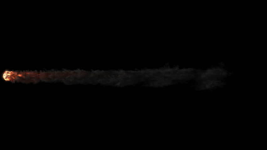 Meteor entering the Earths atmosphere, burning and leaving smoke trail. Perfect for use in your compositing work. Version with gradually disappearing trail. Include alpha channel.