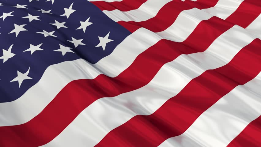 Flag of the United States of America waving in the wind. Seamless looping. 3d generated. - HD stock video clip