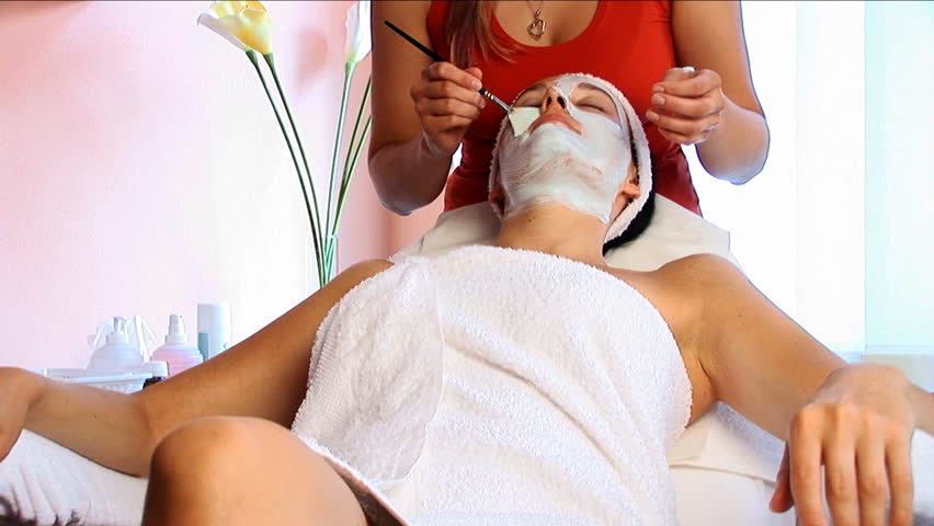 Facial mask treatment in the Spa - HD stock video clip