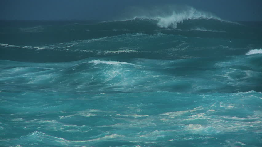 Giant breaking waves driven by high winds 60 FPS - HD stock footage clip