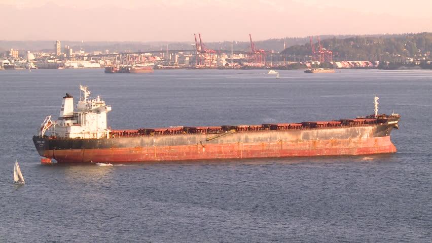 A SHIP ANCHORED AT SEA