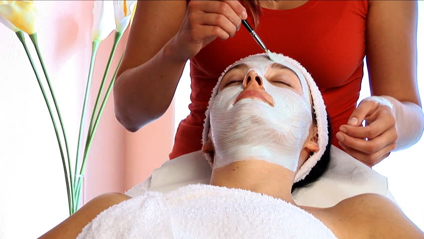Relaxing facial treatment in health Spa  - HD stock video clip