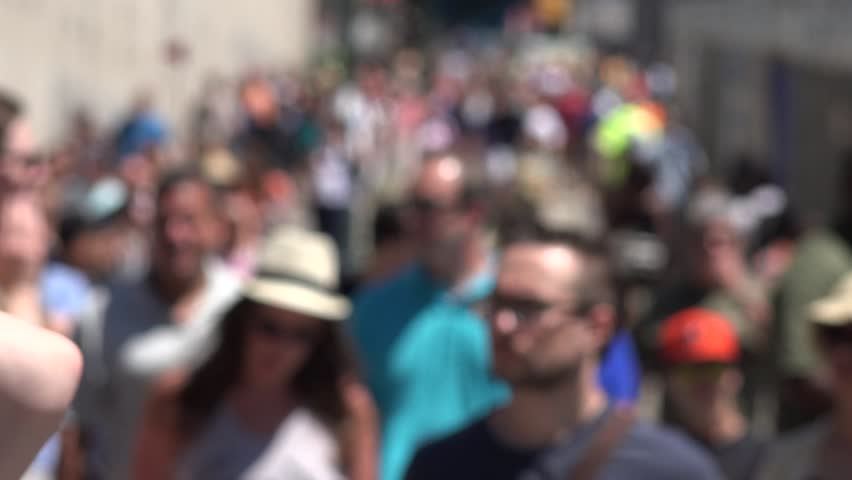 NEW YORK, NEW YORK  JULY 05 2014: Pedestrians Walking on Sidewalk on July 05 2014 in New York, New York - 4K stock video clip