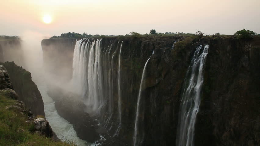 Victoria Falls at sunset, View from Zambia