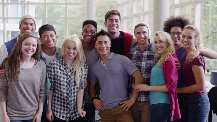 Portrait Of A Happy Mixed Ethnicity Group Of Student ...