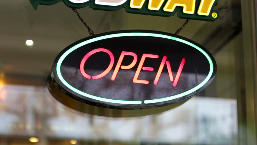 flashing neon open sign 3d animated stock footage video