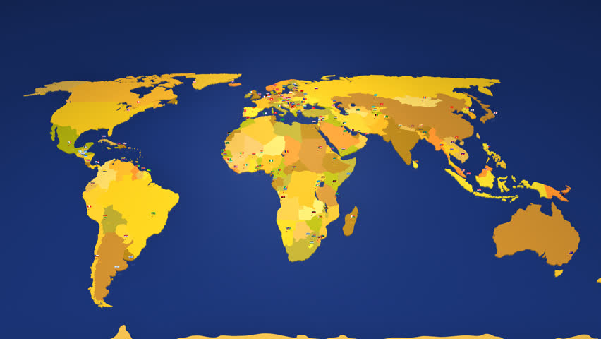 Camera Zooms In From Total Worldmap View