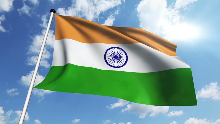 Clothe India Flag Hd: India Flag Waving On Blue Sky With Clouds. Stock Footage