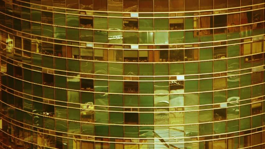 closeup skyscraper glass windows reflect ,business buildings,global commerce.  - HD stock footage clip