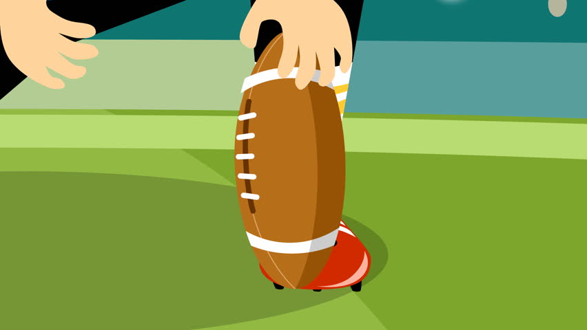 Anime style Football player doing the kick-off. HD Loopable - HD stock video clip