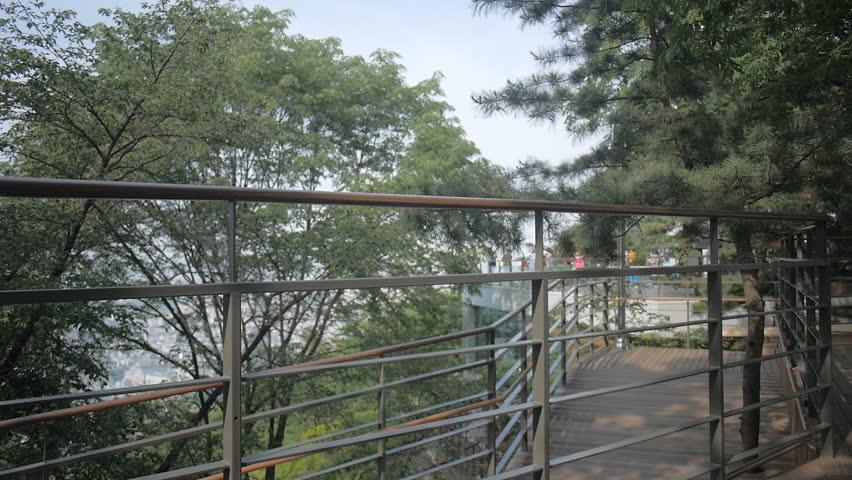 a walking track along Namsan mountain - HD stock footage clip