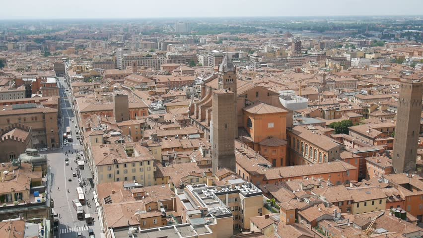 Aerial shoot from the highest tower in Bologna, Italy.