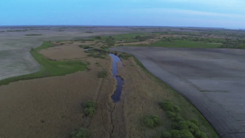 River evening landscape with river and trees .Aerial  - HD stock video clip