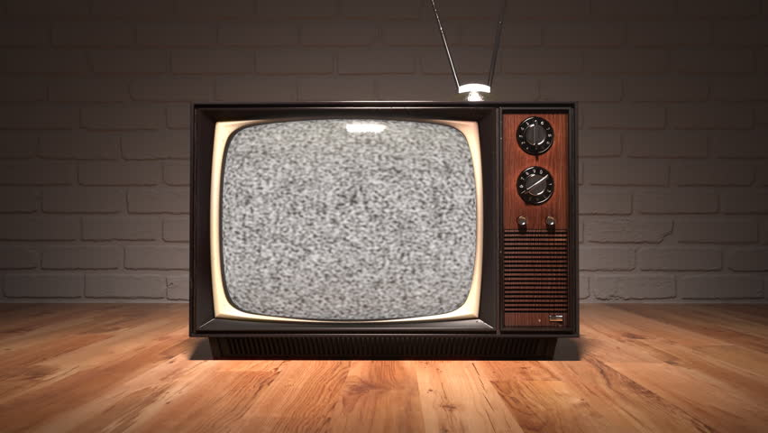 01547 Authentic Static On Old Fashioned Tv Screen At Home
