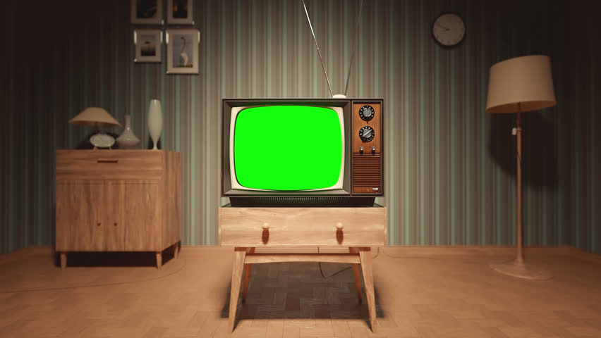 01547 Authentic Static On Old Fashioned TV Screen At Home Green Screen