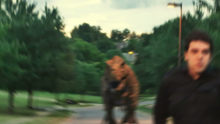 being chased by a dinosaur - HD stock video clip
