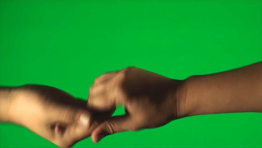 Gang Salute On A Green Screen, Hands, Detail, Gesture, Chroma, Key, High Angle - HD stock footage clip