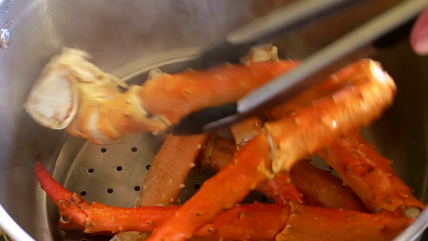 King Crab Legs Steamed And Flipped 4k