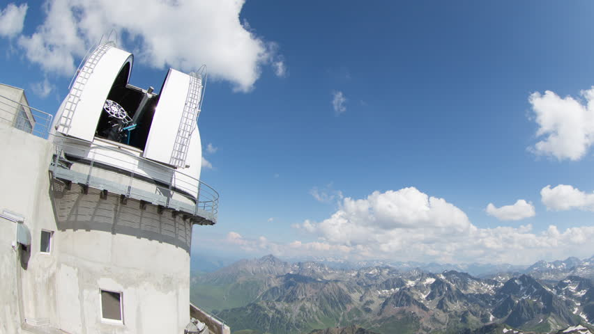 time lapse of the breathtaking view of the pyrenees mountains from pic du midi observatory summit at 2800m in france