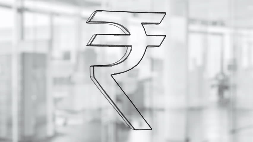 Hand drawn rupee sign rotating on the glass board. Painted by black marker (Felt Tip Pen). Seamless loop animation. Another versions available - check my profile. - HD stock footage clip